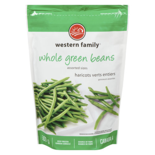Frozen whole green beans in assorted sizes.