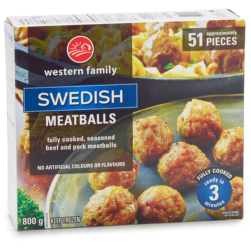Frozen. Fully cooked seasoned beef and pork meatballs. Approx. 51 pieces.