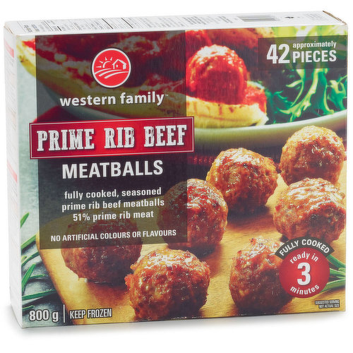 Frozen Fully Cooked Seasoned Prime Rib Meatballs 51% Prime Rib Meat. Approx 42 Pieces.