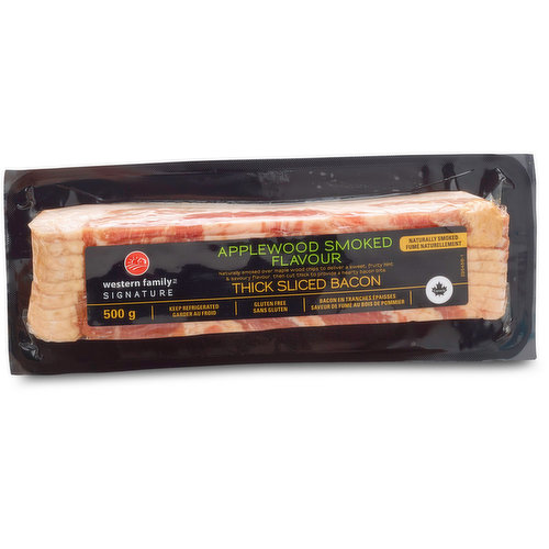 Naturally Smoked over Maple Wood Chips to Deliver a Sweet, Fruity Hint & Savoury Flavour, then Cut thick to Provide a Hearty Bacon Bite.