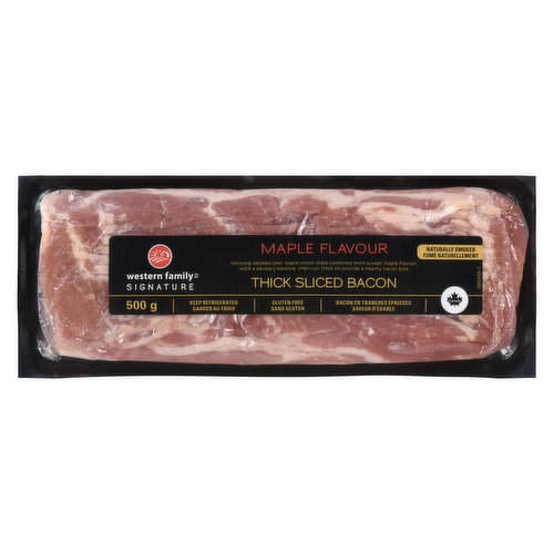 Naturally smoked over maple wood chips combined with sweet maple flavour with a savoury balance, then cut thick to provide a hearty bacon bite.