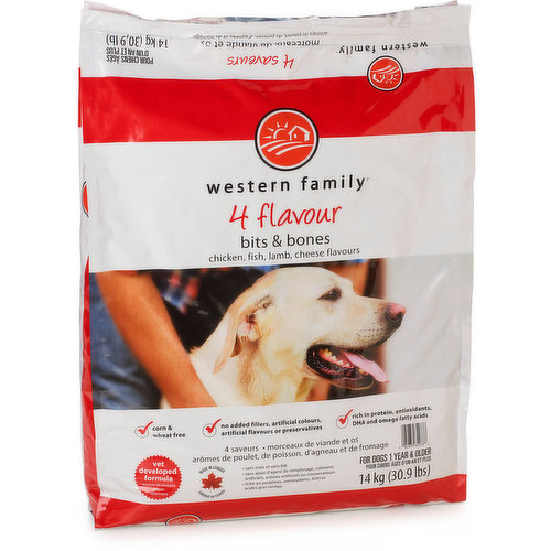 For Dogs 1 Year & Older. Chicken, Fish, Lamb, Cheese Flavours. Corn & Wheat Free. No Added Fillers, Artificial Colours, Artificial Flavours or Preservatives. Rich in Protein, Antioxidants, DHA Omega.