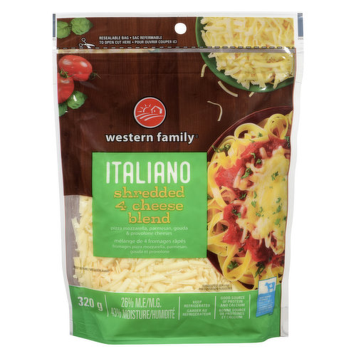 Provolone, Mozzarella, Parmesan & Asiago Cheese. Resealable Bag.