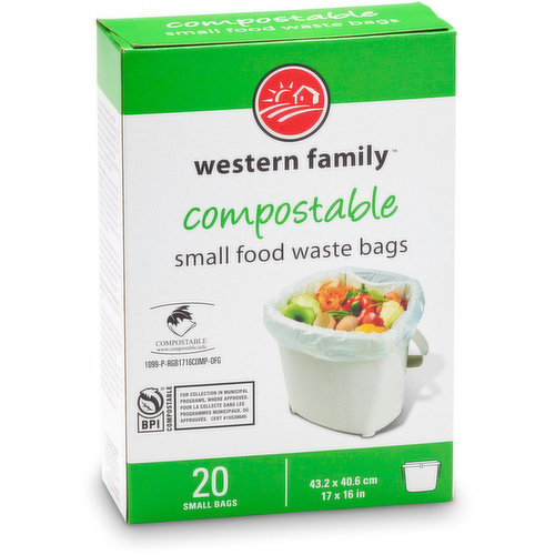 20 small bags that are 100% compostable and are certified by BPI. 43.2x403.6cm. 17x16in.