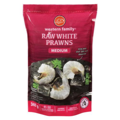 Frozen. Medium Prawns. Easy Peel, Shell Split, Deveined. 41-50 Prawns per pound. Uncooked. Ocean Wise.
