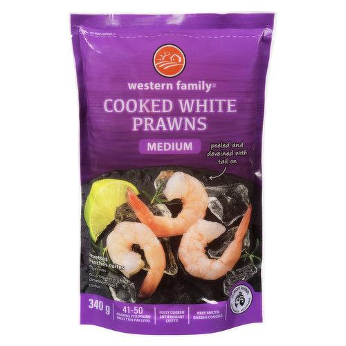 Frozen. Medium Prawns. Peeled, Deveined, Tail on. Cooked. 41-50 prawns per pound. Ocean Wise.