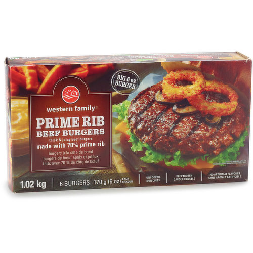 6 Frozen Patties. Thick and Juicy Beef Burgers Made with 70% Prime Rib.