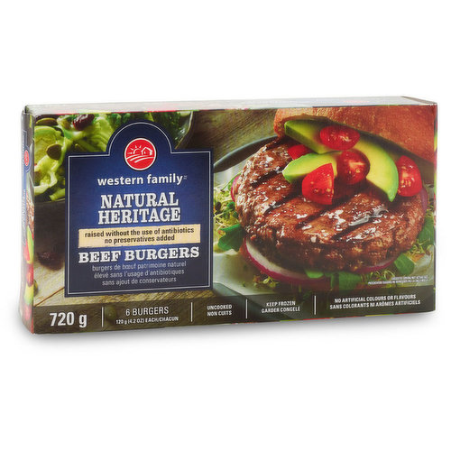 Raised without the use of antibiotics, this tasty beef burger is proudly a product of Canada. It also boasts no preservatives, no artificial colours, nor artificial flavours. A great burger choice for a healthy lifestyle.<br />