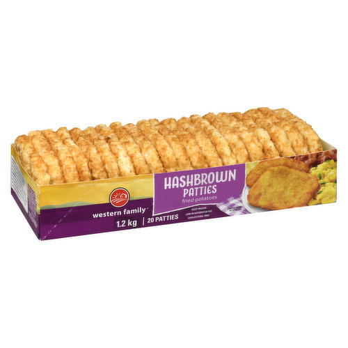 Fried potato patties, part of a great breakfast. Low in saturated fat and cholesterol free. 20pack= 1.2kg