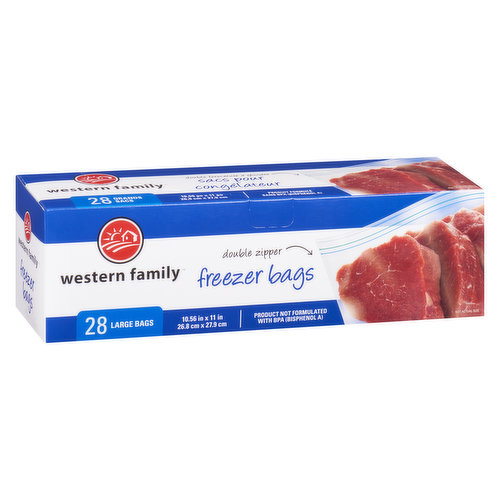 Perfect resealable bag to store your meat or bread items in the freezer. Product not Formulated with BPA, Double Zipper. 28 bags. 10.56inx11in