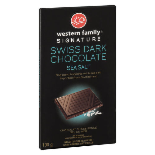Rich & smooth dark chocolate with a hint of sea salt imported from Switzerland. Will satisfy a sweet & savory craving.