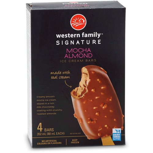 Made with real cream. Creamy smooth mocha ice cream, dipped in a rich, milk chocolatey coating with crunchy, roasted almonds. No artificial colors or flavors. 4 x 88ml bars.