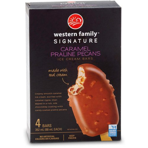 Made with real cream. Creamy smooth caramel ice cream, swirled with caramel ripple, then dipped in a rich, milk chocolatey coating with candy coated praline pecans. No artificial colors or flavors.