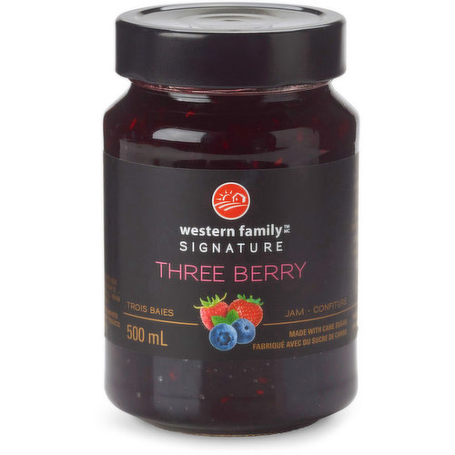 A delightful blend of raspberries, strawberries & blueberries in this jam, creates a compelling complexity of lavish berry flavor. Made with cane sugar. Product of Belgium.