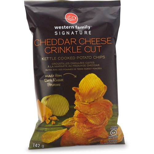 Kettle cooked potato chips. Made from dark russet potatoes. Certified gluten free.