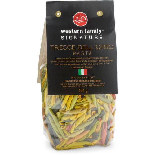 """Pronounced """"tre-cie-dell-or-toe"""".  We use only the finest durum semolina flour & a selection of vegetables & natural ingredients which give our pasta a rich texture & flavor. Product of Italy."""