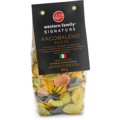 """Pronounced """"arc-o-ba-lay-no"""". We use only the finest durum semolina flour & a selection of vegetables & natural ingredients which give our pasta a rich texture & flavor. Product of Italy."""