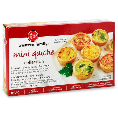 A collection of miniature Quiche Hors D'Oeuvres in light pastry shells, in 3 delicious varieties, lorraine, three cheese &  Florentine. 30 pieces, fully cooked. No artificial colors or flavors.