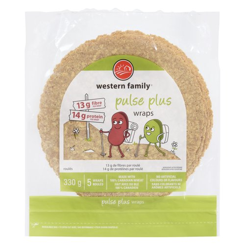Made with 100% Canadian Wheat. No Artificial Colours or Flavours. 330g. 13g Fiber/14g of Protein per Wrap.