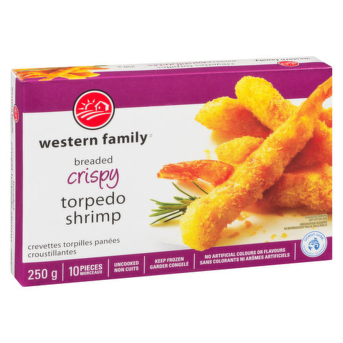 Frozen. 10 pieces of Ocean Wise shrimp coated in a crispy batter. No artificial colors or flavors. Uncooked & keep frozen.