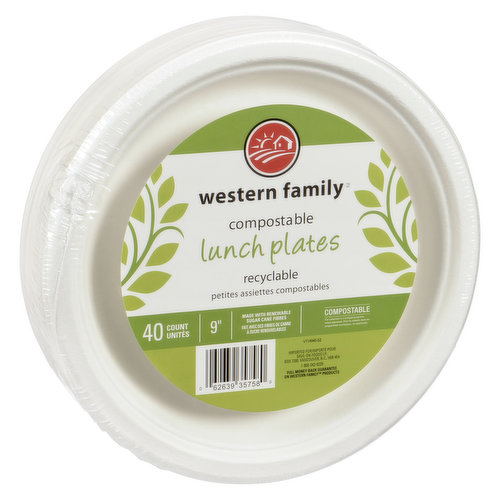 Perfect for get together's. Sturdy 9 inch lunch plates. Compostable, made with renewable sugar cane fibres.