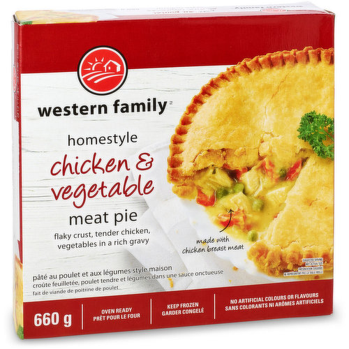 Flaky crust, tender beef, vegetables in a rich gravy. No artificial colors or flavors. Keep frozen until use.