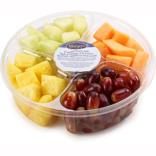 Fresh & juicy fruit, ready to dip in Marzetti cream cheese style dip. Great for gatherings. Contains: grapes, pineapple, honeydew melon & cantaloupe.