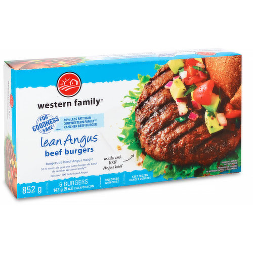 6 burgers, 50% less fat than our Western Family rancher beef burger. Made with 100% Angus beef. Uncooked, keep frozen.