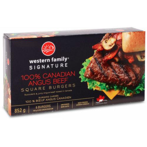 Succulent & juicy. Angus beef raised in Canada. Uncooked, keep frozen, 6 burgers, 142g each.
