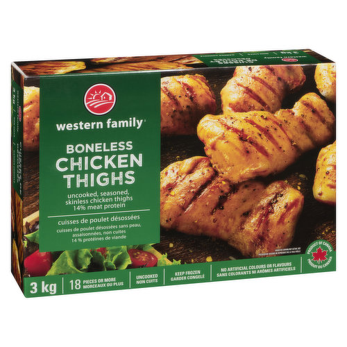 Approximately 18 pieces of frozen, uncooked seasoned boneless chicken thighs. 14% meat protein. No artificial colors or flavors.