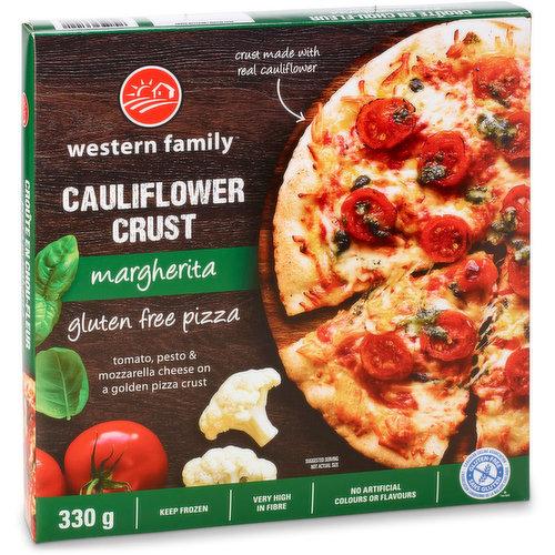 Tomato, pesto & mozzarella cheese on a golden cauliflower pizza crust. Very high in fibre.  No artificial colors or flavors. Gluten free.
