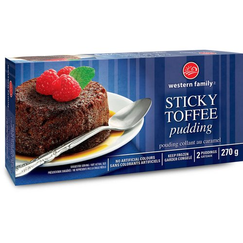 Traditional sponge cake made with dates and butter. 2 Puddings. Keep Frozen.
