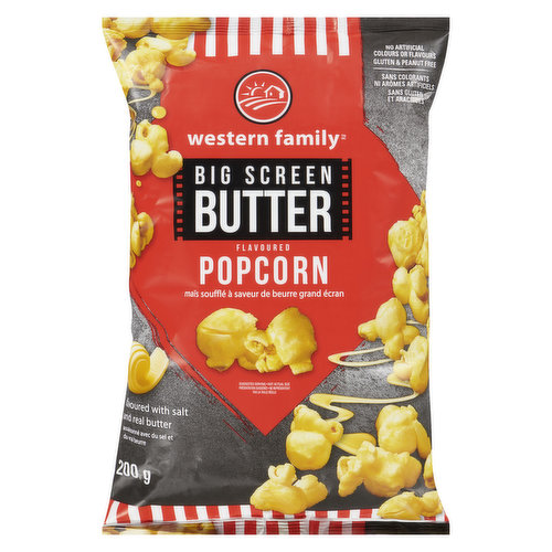 Flavoured with salt and real butter. No artificial colours or flavours. Gluten and peanut free