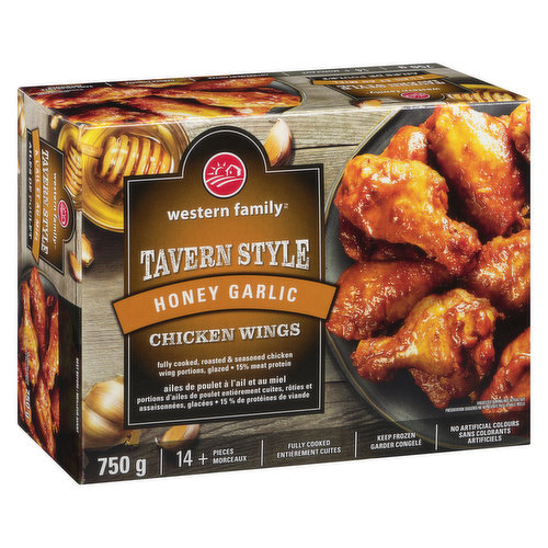 14+ pieces. Fully cooked, roasted & seasoned chicken wing portions. Glazed. 15% meat protein. No artificial colours or flavours.