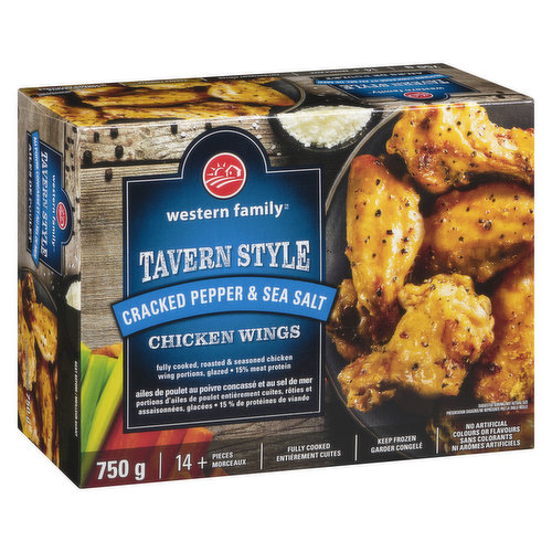 14+ pieces. Fully cooked, roasted & seasond chicken wing portions, glazed. 15% meat protein. No artificial colours or flavours.