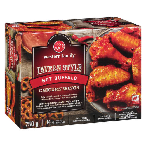 14+ pieces. Fully cooked, roasted & seasoned chicken wing portions. Glazed. 15% meat protein. No artificial colours or flavours. Medium heat.