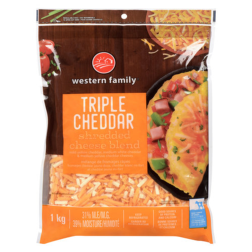Mild yellow cheddar, medium white cheddar, & medium yellow cheddar cheeses. Good source of protein & calcuim.