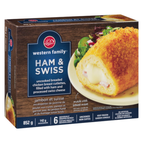 Frozen. Filled with ham and processed swiss cheese. 6 individually wrapped entrees. Uncooked. No artificial colours or flavours.
