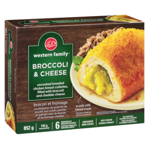 Frozen. Filled with brocolli and cheddar cheese. 6 individually wrapped entrees. Uncooked. No artificial colours or flavours.