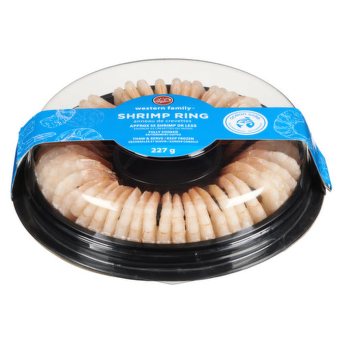 Approximatly 55 shrimp or less. Fully cooked. Ocean Wise.