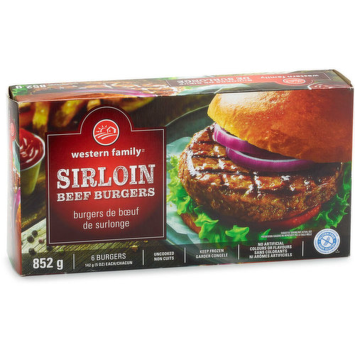Package contains 6 uncooked beef patties. Keep frozen. Gluten free. No artificial colours or flavours.