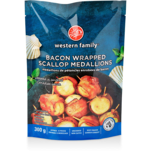 Wrapped in smoked Canadian Bacon. Approximatly 12 scallops. Uncooked. Keep frozen until use. Oceanwise.