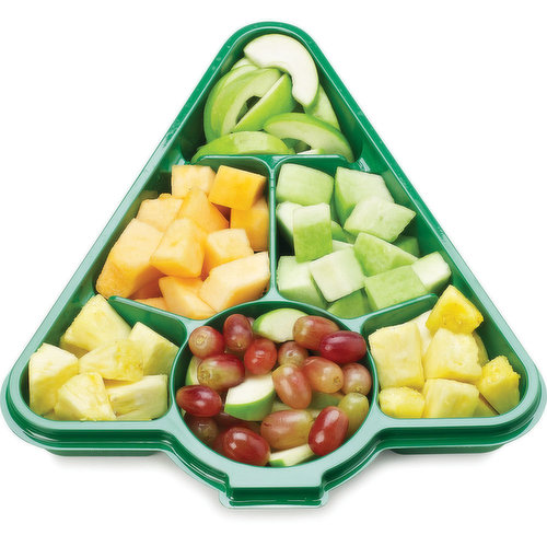 A festive fruit tray, perfect to share with family & friends. Fruit includes: green apple, cantaloupe, honeydew melon, pineapple & red grapes.