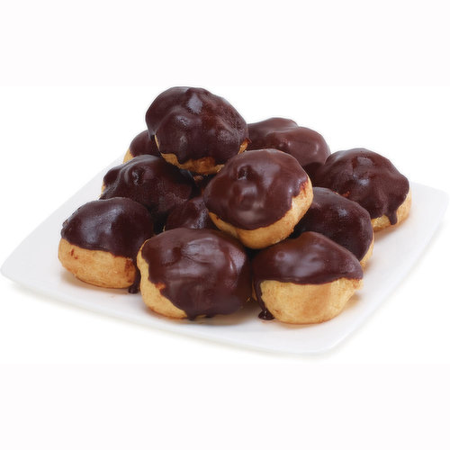 Mini Puff Pastry Shells, Filled with a Smooth Custard Cream and  Topped with Dark Chocolate.
