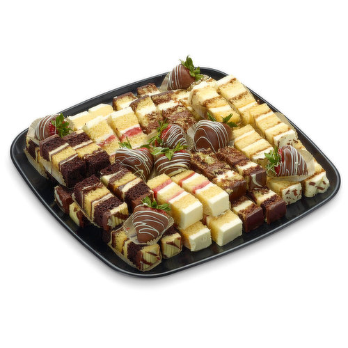 48 hour Prep Time Required for Party Platters. Limit 10 Per Order. Strawberry Shortcake, Tuxedo Chocolate Truffle Mouse Cake, Tiramisu & Triple Chocolate Truffle Cake. Made with Real Cream.