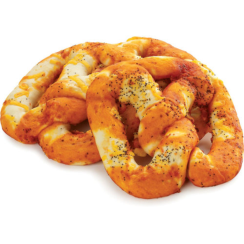 This dough is carefully rolled and hand twisted into a pretzel, given a good coat of pizza sauce, herbs and spices then topped with shredded cheese. Enjoy with your favourite sauce for dipping and dunking or savour this satisfying snack on its own. Either