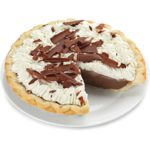 Hand crafted Flakey Pie Shell Filled Chocolate Custard Using 54% Belgian Chocolate and Baked to Perfection and Topped with Fresh Whip Cream.