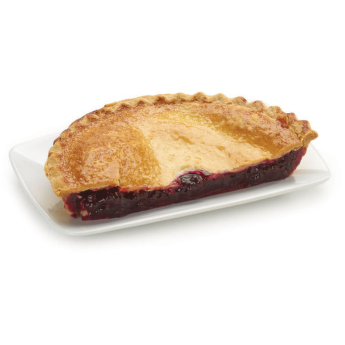 Baked in store. Whole, juicy blueberries with real sugar then bake in flaky, made-from-scratch crust. Just slice and serve or warm it up and add a scoop of vanilla ice cream.