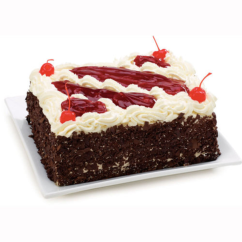Qty over 2 must be ordered in Store. Delicate Chocolate Sponge Cake Moistened with Kirsch Liqueur Mixture Filled with Whip Cream, Cherry Filling. Topped with Chocolate Shavings, Maraschino Cherries.