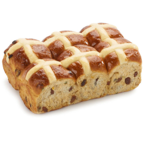 Spiced sweet bunv, traditionally eaten on Good Friday in the United Kingdom.